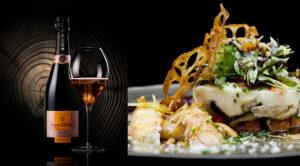Mariage culinaire Veuve Clicquot Vintage Rosé, Queue de langoustines de nos côtes, châtaigne et girolles