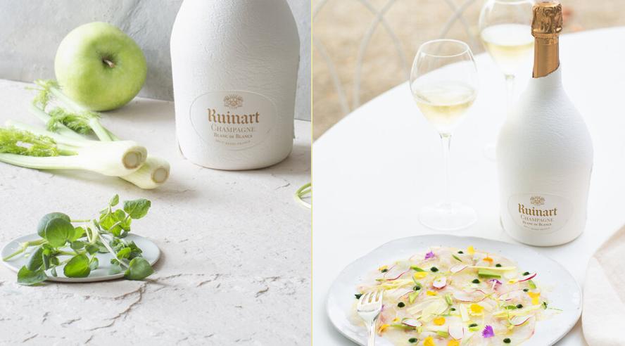 Menu Ruinart Blanc de Blancs x Carpaccio de Bar aux agrumes et légumes croquants