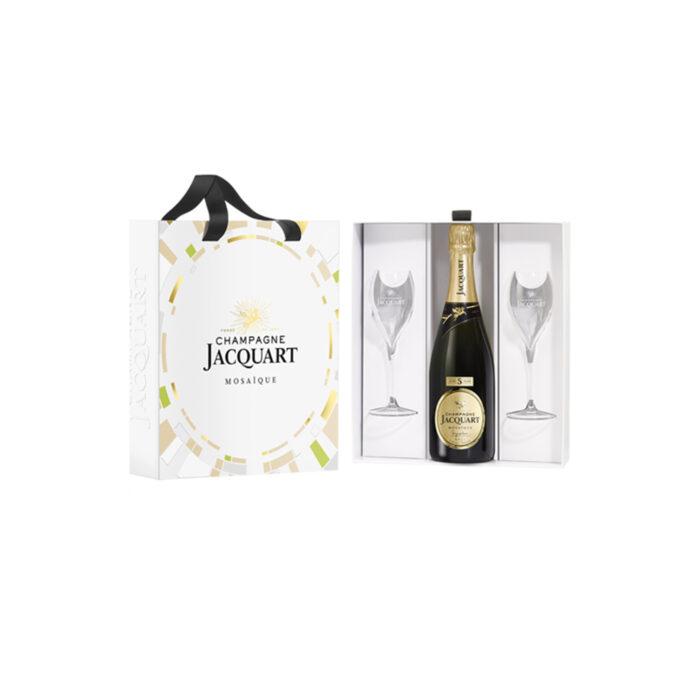 Champagne Jacquart Mosaïque Signature 5 ans d'âge Coffret Duo Bouteille et 2 verres - Champmarket