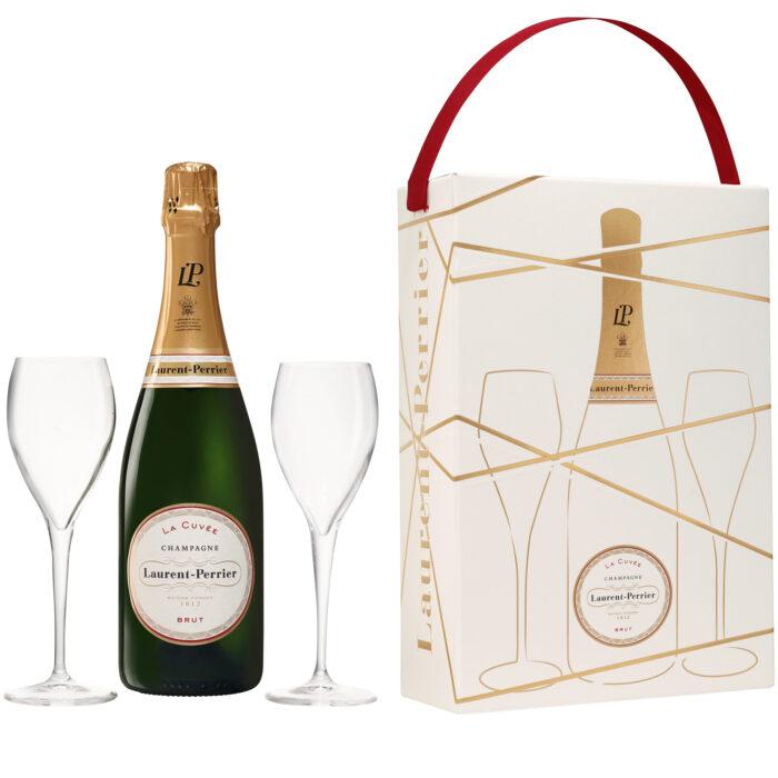 Champagne Laurent-Perrier La Cuvée Coffret 1 Bouteille et 2 verres - Champmarket