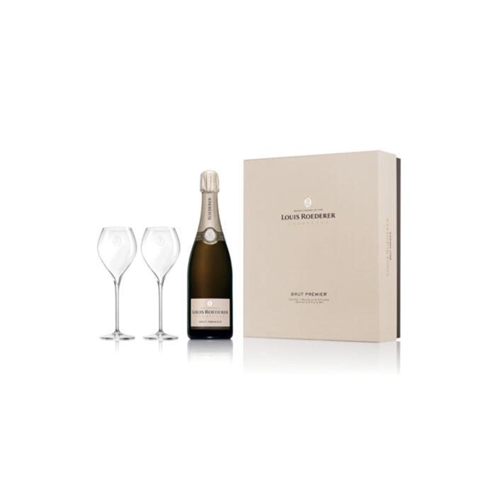 Champagne Louis Roederer Brut Premier Coffret 1 bouteille et 2 flûtes - Champmarket