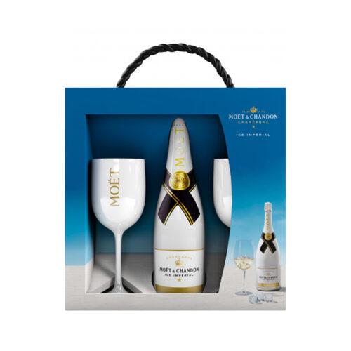 Champagne Moët & Chandon Ice Imperial Coffret 1 Bouteille et 2 verres - Champmarket