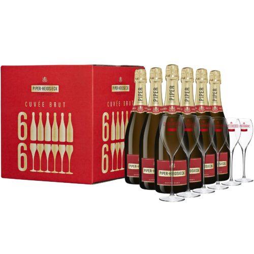 Champagne Piper-Heidsieck Cuvée Brut Flute Party Case 6 Bouteilles et 6 verres - Champmarket
