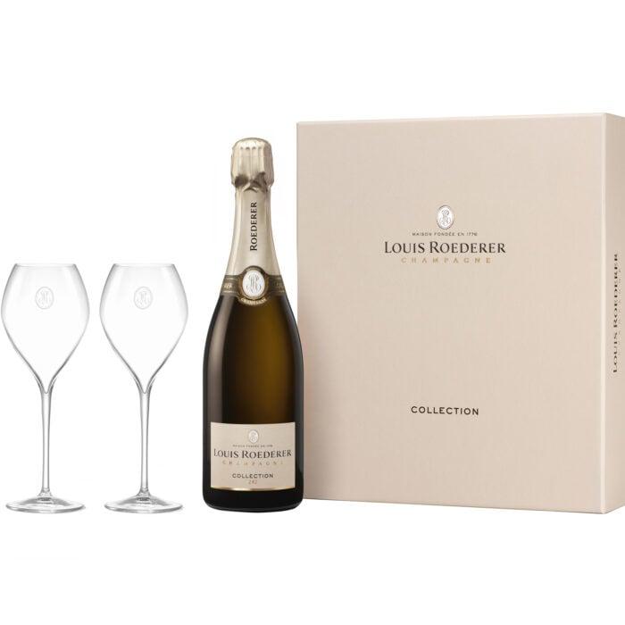 Champagne Louis Roederer Collection 242 Coffret 1 Bouteille et 2 Verres- Champmarket